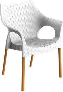 Cadeira Relic Com Braço Branca E Madeira