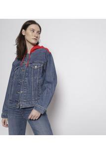 Casaco Jeans Com Capuz - Azul & Vermelholevis