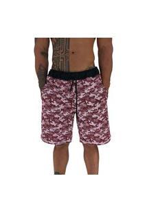 Bermuda Masculina Alto Conceito Moletom Limitado Camuflado Bolinhas Vermelho