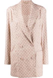 Acne Studios Floral-Jacquard Suit Jacket - Laranja