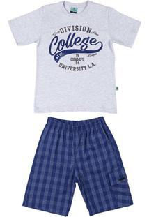 Conjunto Menino Infantil - Masculino-Cinza+Azul