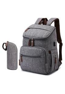 Bolsa Maternidade Mommy Bag Cinza Modelo Landquart Com Usb E Espaço Para Notebook