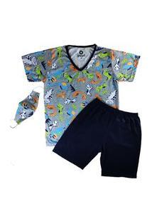 Pijama Grappin Masculino Manga E Short Curto Infantil Juvenil Marinho-E161