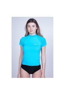 Camiseta Oneill Feminina Manga Curta Lycra Azul