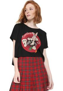 Camiseta Cropped Cavalera Estampada Preta