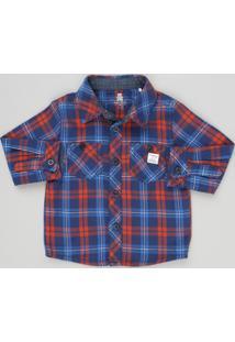 Camisa Infantil Xadrez Em Flanela Manga Longa Com Bolsos Em Algodão + Sustentável Azul Marinho