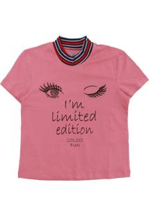 Camiseta Colcci Fun Menina Lettering Rosa
