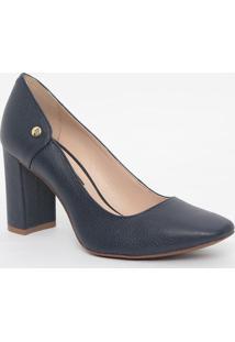 Sapato Em Couro Texturizado- Azul Escuro- Salto: 8,5Jorge Bischoff