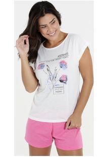92d2c396cbe870 Pijama Feminino Short Doll Floral Manga Curta Marisa