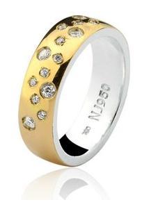 Aliança Mista Ouro 18K E Prata 925 Elegance Natalia Joias Alm-191 - Feminino-Ouro