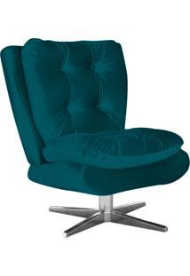 Poltrona Decorativa Tolucci Suede Azul Pavão Com Base Giratória Em Aço Cromado - D'Rossi
