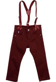 Calça Jeans Infantil Para Menino - Vinho