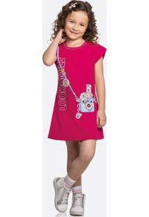 Vestido Infantil Estampa Câmera Manga Curta