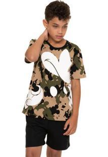 Pijama Juvenil Curto Menino Exército Mickey Em Algodão