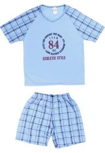 Pijama Curto Infanto Juvenil Para Menino - Azul