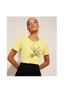 Camiseta De Algodão Com Estampa De Folhagens Manga Curta Amarelo Claro