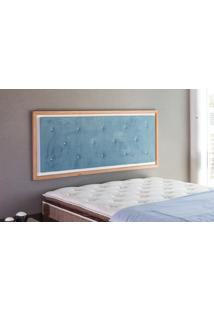 Painel Cabeceira Para Cama Casal Box Tecido Suede Azul E Madeira Cor Jatobá - 150X62,7X3 Cm