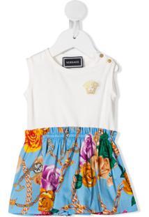 Young Versace Vestido Midi Com Recorte Contrastante - Branco