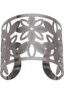 Bracelete Banhado A Rã³Dio Negro- Cinza Escuro- Regulisabela Borgonian