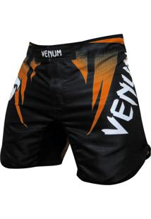 Bermuda Venum Fight Team Edition - Preto E Laranja
