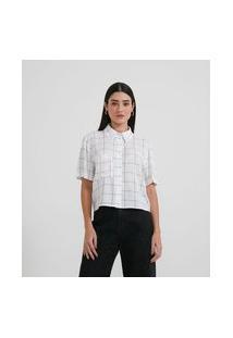 Camisa Cropped Em Viscose Com Bolso E Estampa Grid | Blue Steel | Branco | P