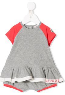 Moncler Kids Conjunto De Camiseta E Shorts - Cinza