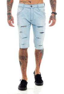 Bermuda Rich Jeans Destroyed Rasgada Masculina - Masculino-Azul Claro