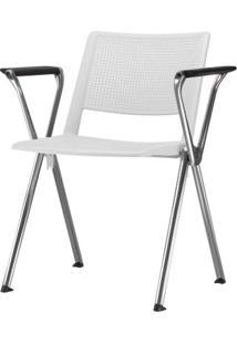 Cadeira Up Com Bracos Assento Branco Base Fixa Cromada - 54327 Sun House