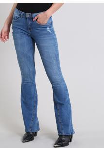 Calça Jeans Feminina Flare Com Puídos Azul Médio