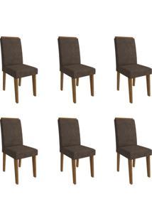 Conjunto Com 6 Cadeiras De Jantar Taís Suede Savana E Cacau