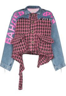 Natasha Zinko Jaqueta Jeans Com Pied De Poule - Pink/ Light Washed