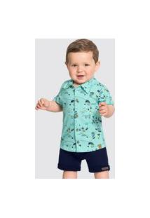 Camisa Bebê Menino Piratas Verde - Alakazoo