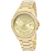 fe01534e25c Okulos. Relógio Feminino Condor Analógico Com Cristais Swarovski  Co2115Tm 4X Dourado