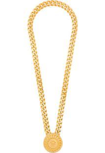 Versace Colar De Corrente Com Medalhão - Dourado