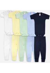 Kit Body Bebê Zupt Baby Enxoval 10 Peças Masculino - Masculino-Marinho+Azul