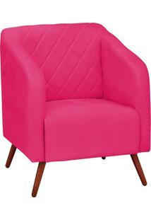 Poltrona Decorativa Silmara Suede Rosa Barbie Pés Palito Condor Drossi