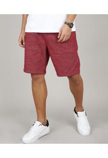 Bermuda Masculina Slim Com Bolsos E Cordão Vinho