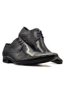 Sapato Social Derby Masculino Bico Fino Sola Couro Mod 377 Preto