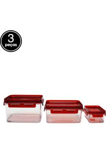 Kit 3Pçs Pote Coza Polipropileno Hermético Vermelho