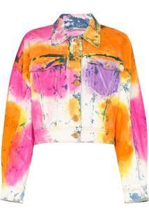 Versace Jaqueta Jeans Tie-Dye - Rosa