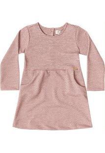 Vestido Manga Longa Infantil Rosa Up Baby