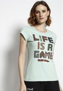 "Camiseta ""Life Is A Game"" - Verde ÁGua & Preta - Coccoca-Cola"