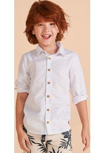 Camisa Infantil Menino Manga Longa Em Linho Hering Kids