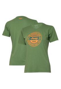 Camiseta Especial Fem. Jeep Round - Verde Militar