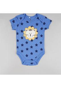 Body Infantil Leão Estampado De Estrelas Manga Curta Azul