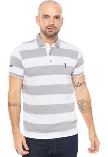 Camisa Polo Aleatory Reta Listrada Cinza Branco 05db90a8cfe92