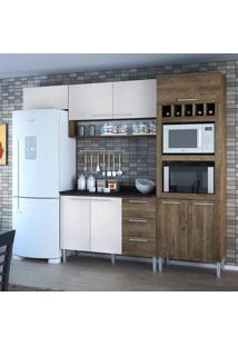 Cozinha Compacta 8 Portas 3 Gavetas Yasmin 0421T Demolição/Gelo 3D - Genialflex