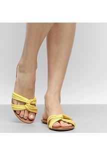 Rasteira Drezzup Multi Tiras - Feminino-Amarelo