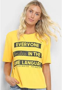Camiseta My Favorite Thing(S) Estampada Feminina - Feminino-Amarelo