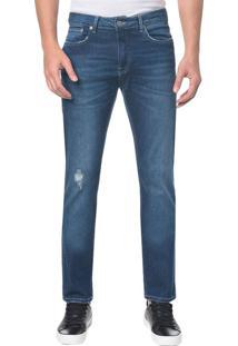 Calça Jeans Five Pocktes Slim Straight Ckj 025 Slim Straight - Azul Médio - 36